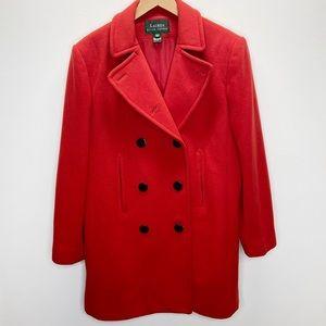 Ralph Lauren Womens Red Wool Cashmere Peacoat